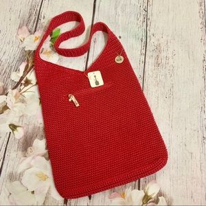THE SAK, Crochet Shoulder Bag Purse Red New